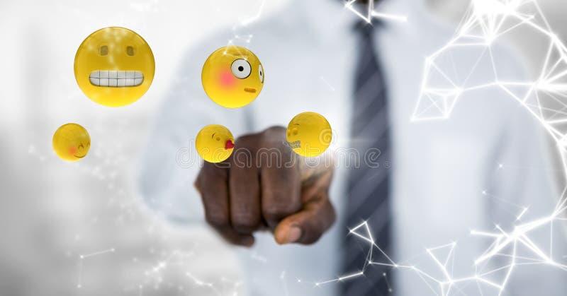 Emojis conmovedores de la mediados de sección del hombre de negocios con la llamarada contra fondo gris borroso ilustración del vector