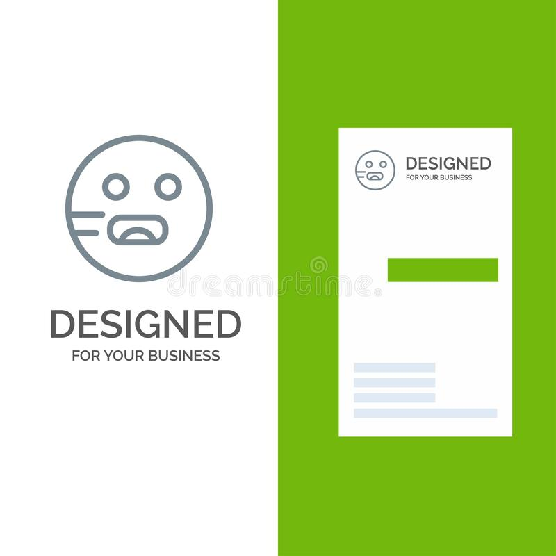 Emojis, Emoticon, hambriento, escuela Grey Logo Design y plantilla de la tarjeta de visita libre illustration