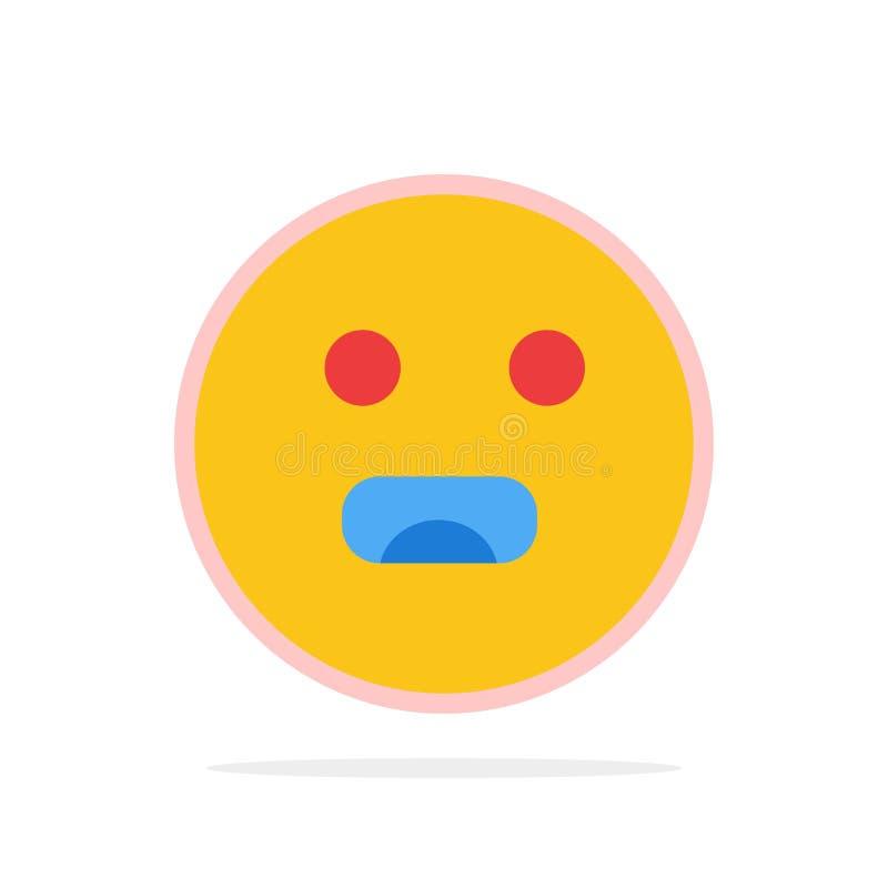 Emojis, Emoticon, hambriento, icono plano del color de fondo abstracto del círculo de la escuela ilustración del vector