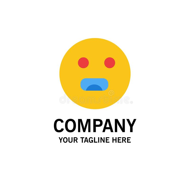 Emojis, Emoticon, hambriento, negocio Logo Template de la escuela color plano ilustración del vector