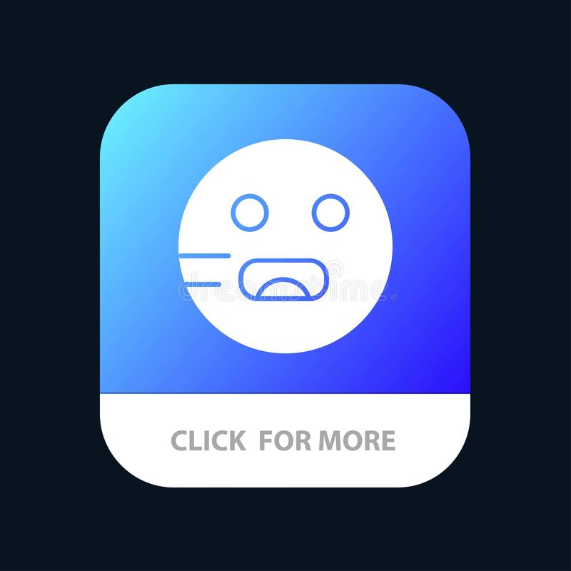 Emojis, Emoticon, Hungry, School Mobile App Button. Android and IOS Glyph Version stock illustration