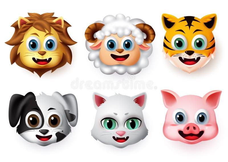 Emojis and emoticons animal happy face vector set. Animal emoji face of lion, lamb, tiger, dog, cat and pig character. royalty free stock photo