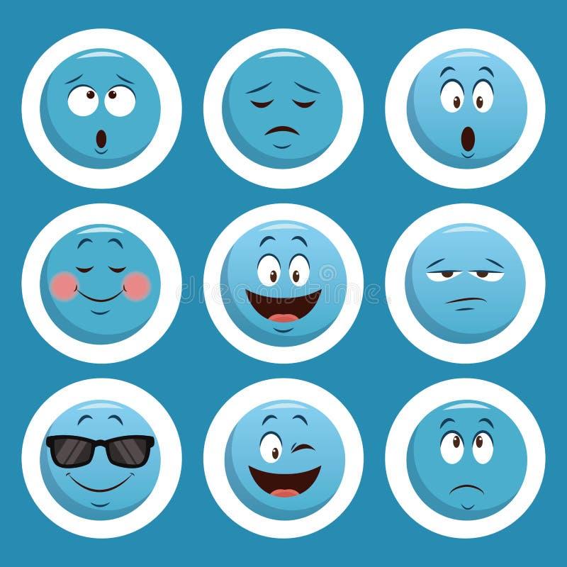 Emojis gadki ikony ilustracja wektor