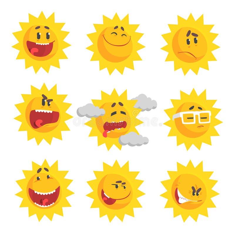 Emojis lindos del sol de la historieta El sistema emocional de la cara de caracteres coloridos vector ejemplos stock de ilustración