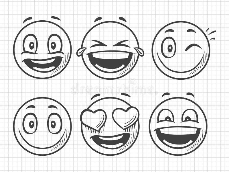 Emojis positivi disegnati a mano, schizzo di vettore di sorriso illustrazione di stock