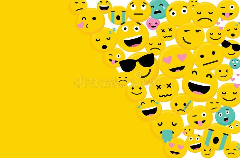 Emojis teckenkort med utrymme för Text-vektor royaltyfri illustrationer