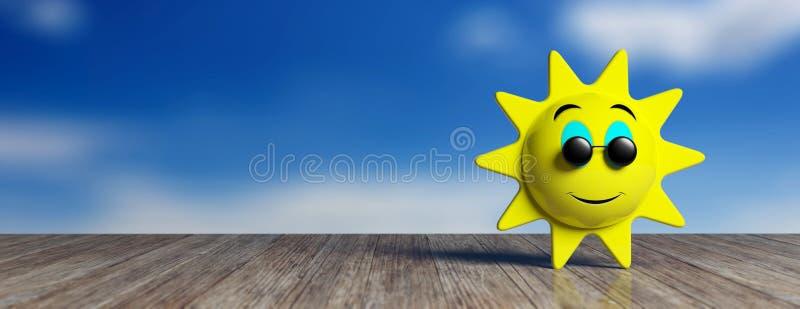 Emojizon geel met zwarte ronde zonnebril die glimlachen, op een houten dok en hemelachtergrond, banner 3D Illustratie royalty-vrije illustratie