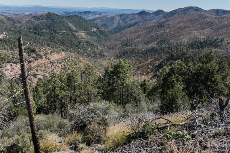 Emory Pass area vista in New Mexico. The Emory Pass area near Silver City in southwest New Mexico provides views of the surrounding mountains royalty free stock photo