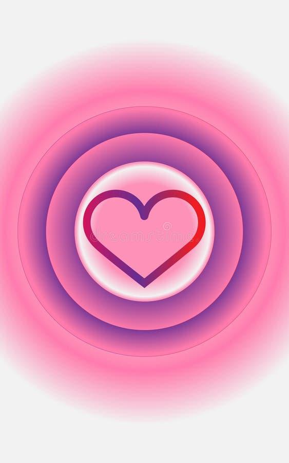 Emothion al neon di festa della carta di StValentine di amore del cuore immagine stock libera da diritti