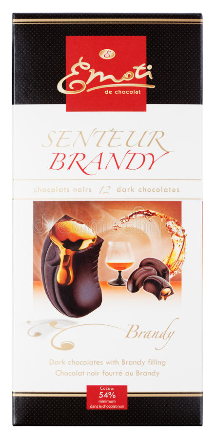 Emoti de Chocolat Senteur白兰地酒-黑暗的巧克力块用在白色隔绝的白兰地酒 图库摄影