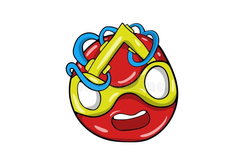 Emoticon abstracto extraño divertido de la historieta ilustración del vector
