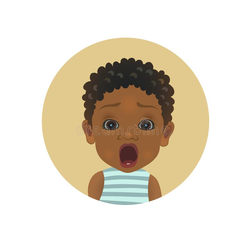 Emoticon afroamericano chocado lindo del bebé Emoji africano asustado del niño Smiley asustado del niño Avatar asustado de la exp stock de ilustración
