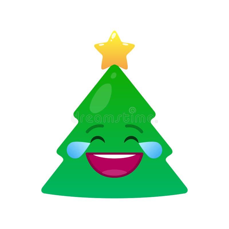 Emoticon aislado árbol de navidad de risa de los rasgones libre illustration
