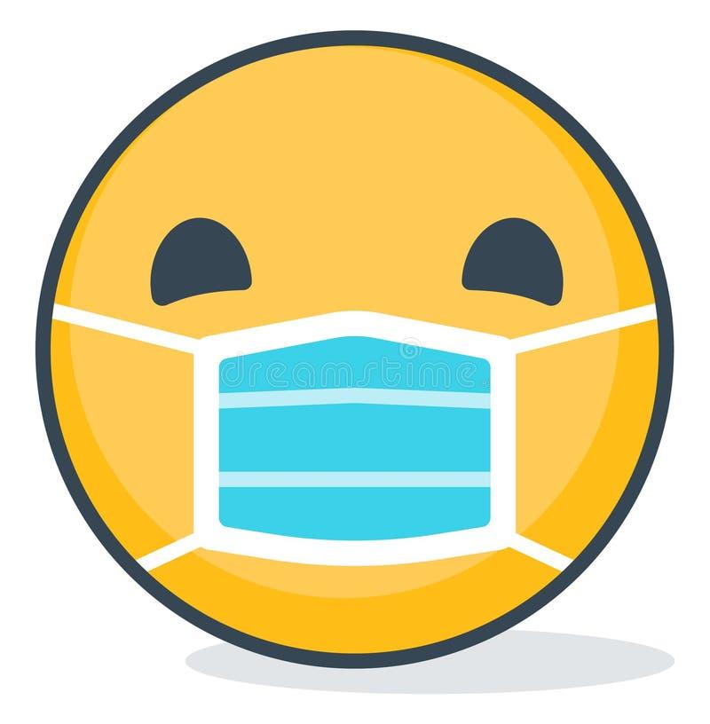 Emoticon aislado que lleva la máscara médica Emoticon aislado ilustración del vector