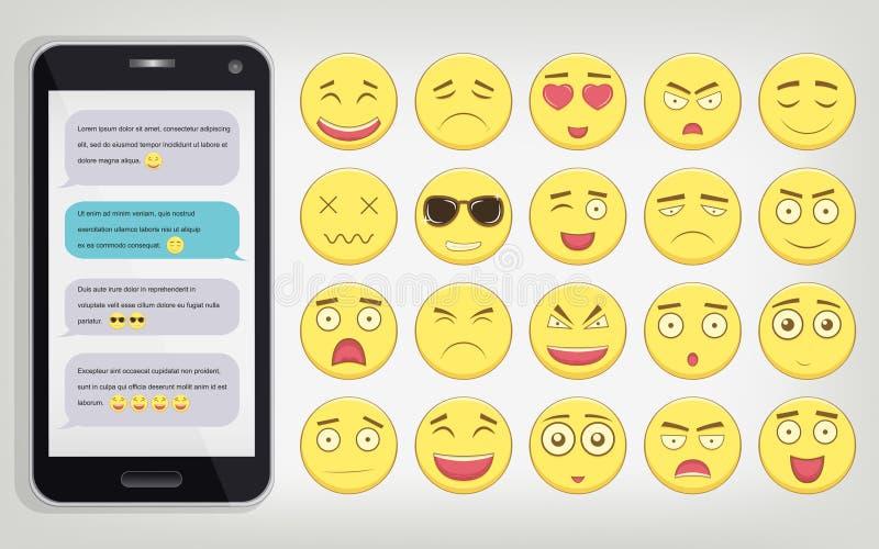 Emoticon ajustado com telefone Emoticon para a site, bate-papo, sms Projeto liso moderno Vetor ilustração do vetor
