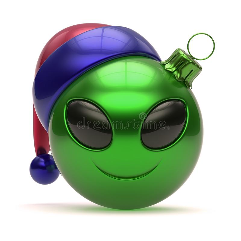 Emoticon alien Santa Claus Christmas ball hat smiling avatar vector illustration