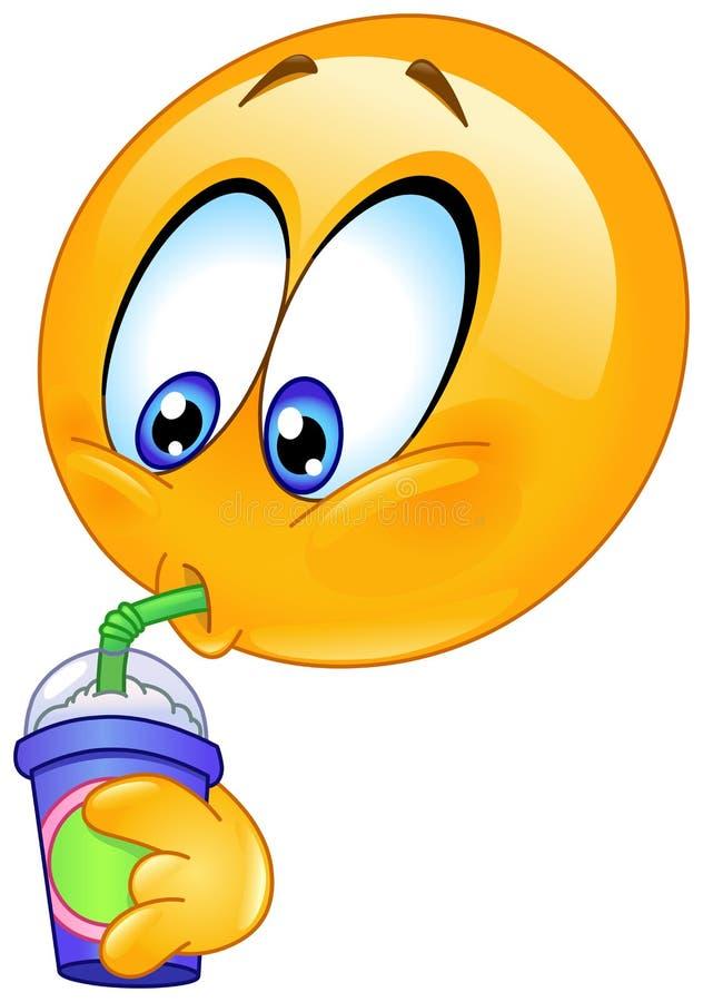 Emoticon bebendo da soda ilustração do vetor