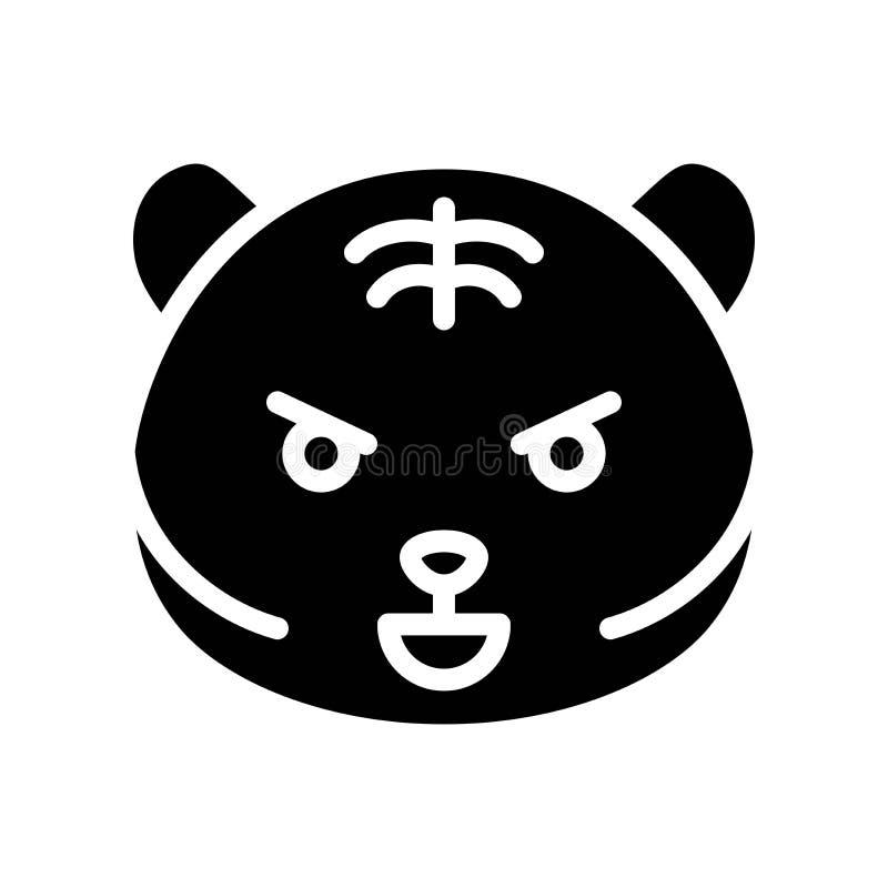 Emoticon bonito do tigre, ilustração contínua do vetor do estilo ilustração royalty free