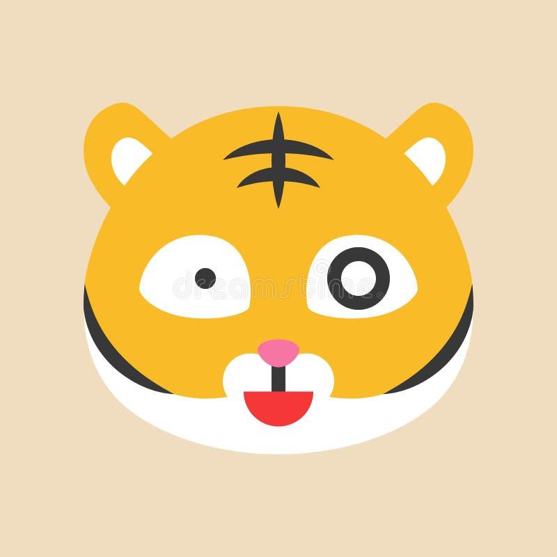 Emoticon bonito do tigre, ilustração lisa do vetor do estilo ilustração stock