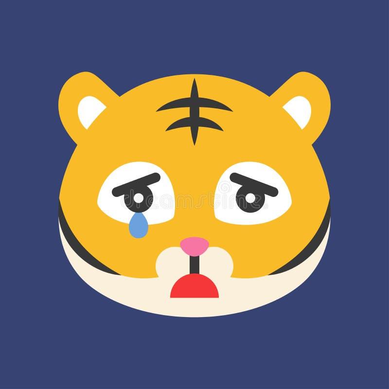 Emoticon bonito do tigre, ilustração lisa do vetor do estilo ilustração royalty free
