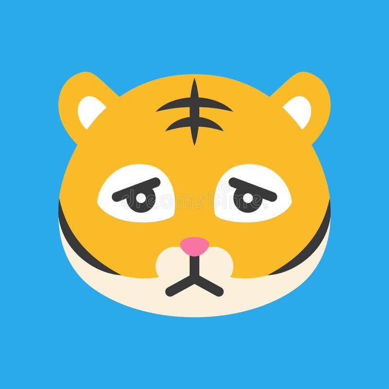 Emoticon bonito do tigre, ilustra??o lisa do vetor do estilo ilustração royalty free