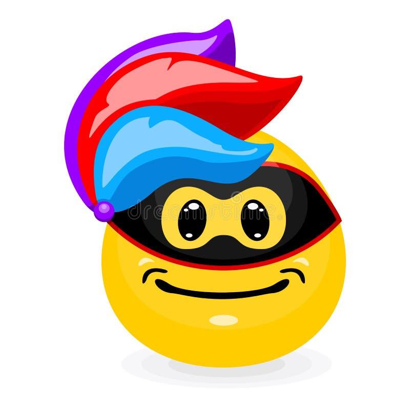 Emoticon bonito no chapéu do carnaval com penas ilustração stock