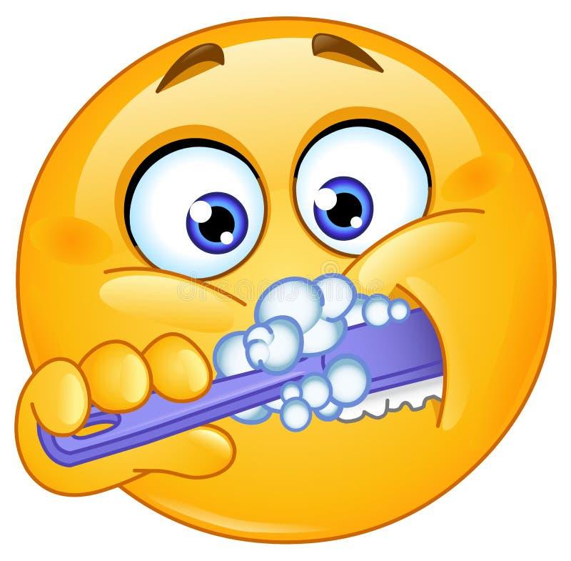 Emoticon brushing teeth stock illustration
