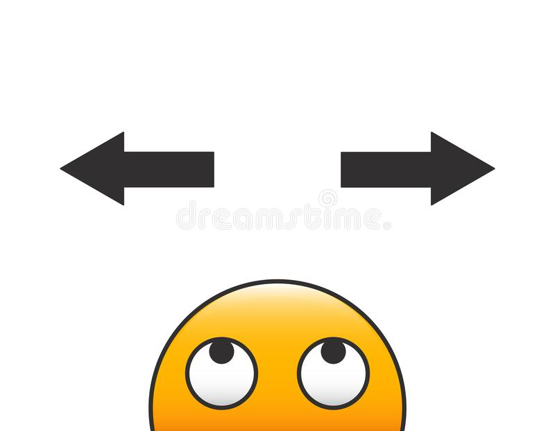 Emoticon character head making a decision with arrows and question above his head. Vector illustration with transparent background. Eps10 stock illustration