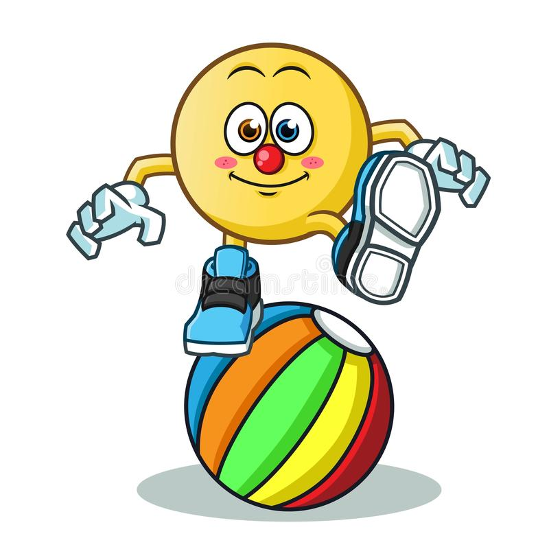 Emoticon circus clown stand in the ball mascot vector cartoon illustration royalty free illustration