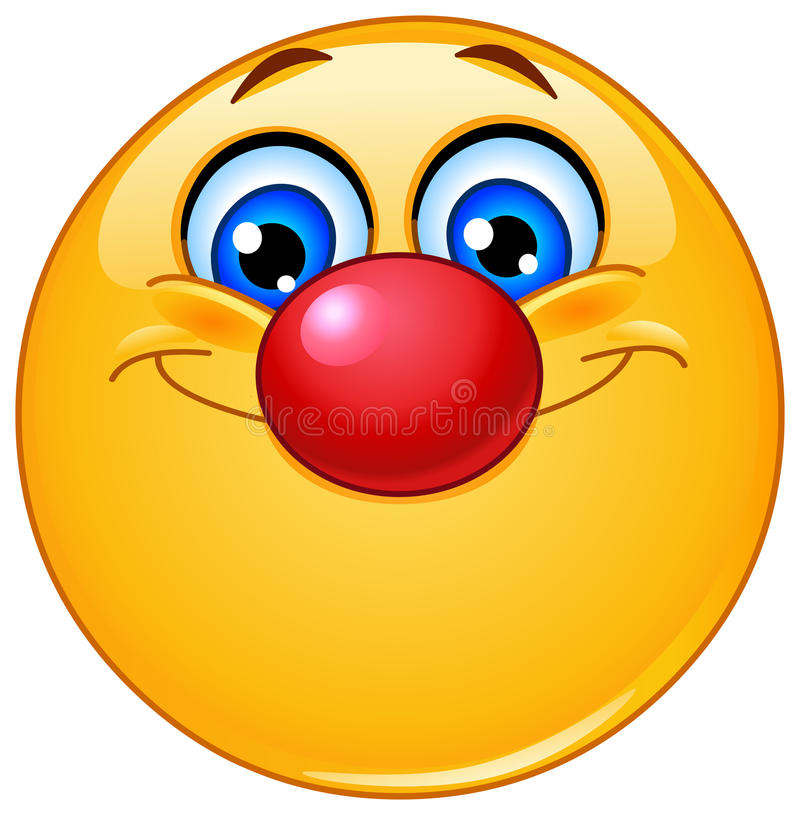 Emoticon with clown nose vector illustration