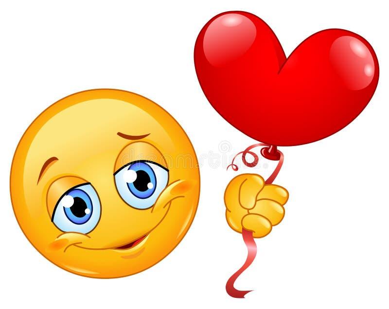 Emoticon com balão do coração ilustração stock