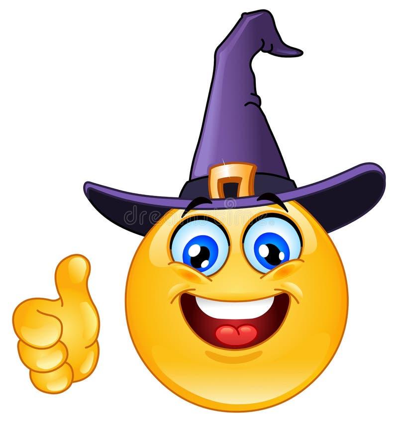 Emoticon com chapéu da bruxa ilustração royalty free