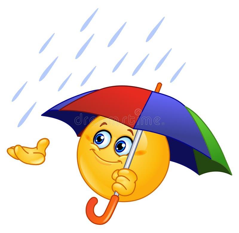Emoticon com guarda-chuva ilustração royalty free