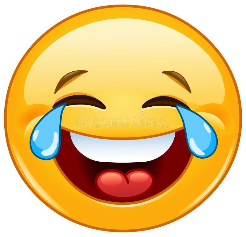 Emoticon com os rasgos da alegria ilustração do vetor