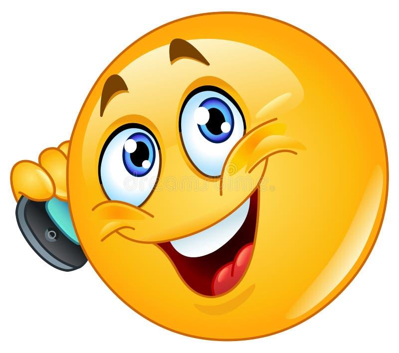 Emoticon com telefone de pilha ilustração do vetor