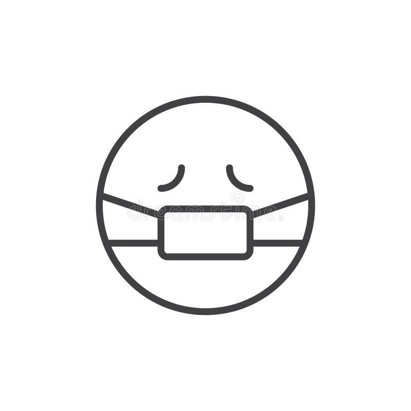 Emoticon con el icono médico del esquema de la máscara stock de ilustración