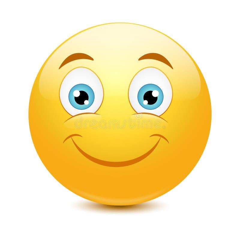 Emoticon con il grande sorriso a trentadue denti illustrazione di stock
