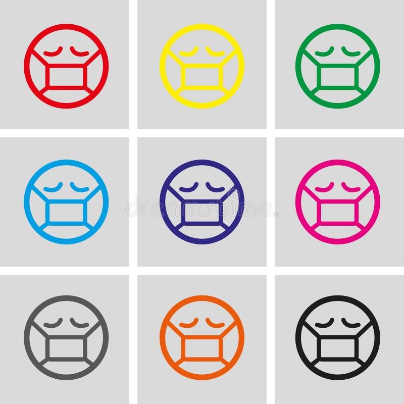 Emoticon con la máscara médica sobre diseño plano del ejemplo del vector de la acción del icono de la boca ilustración del vector