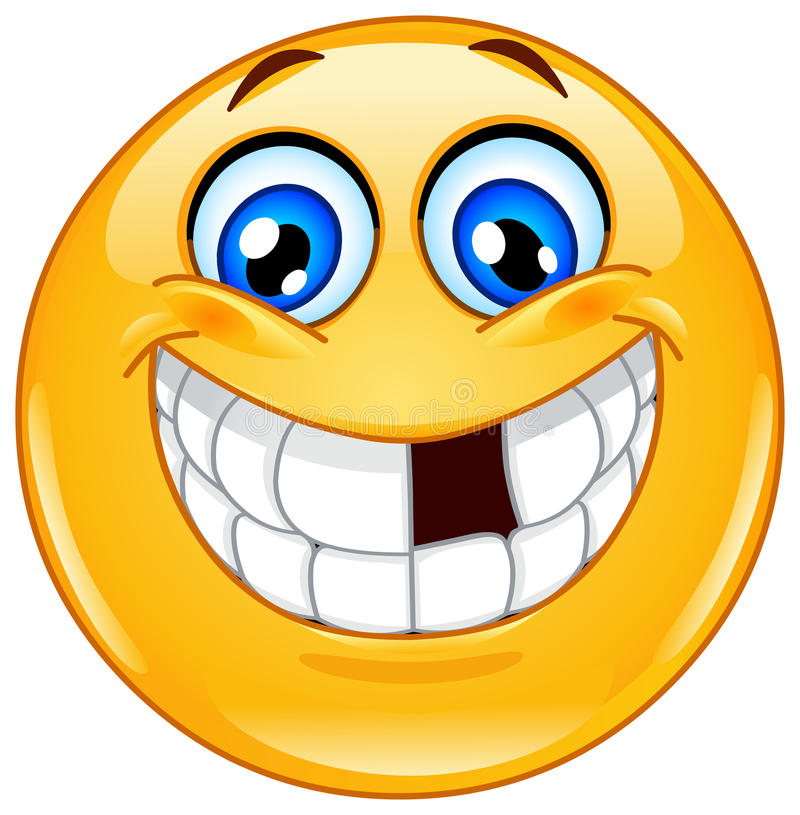Emoticon con los dientes que falta stock de ilustración