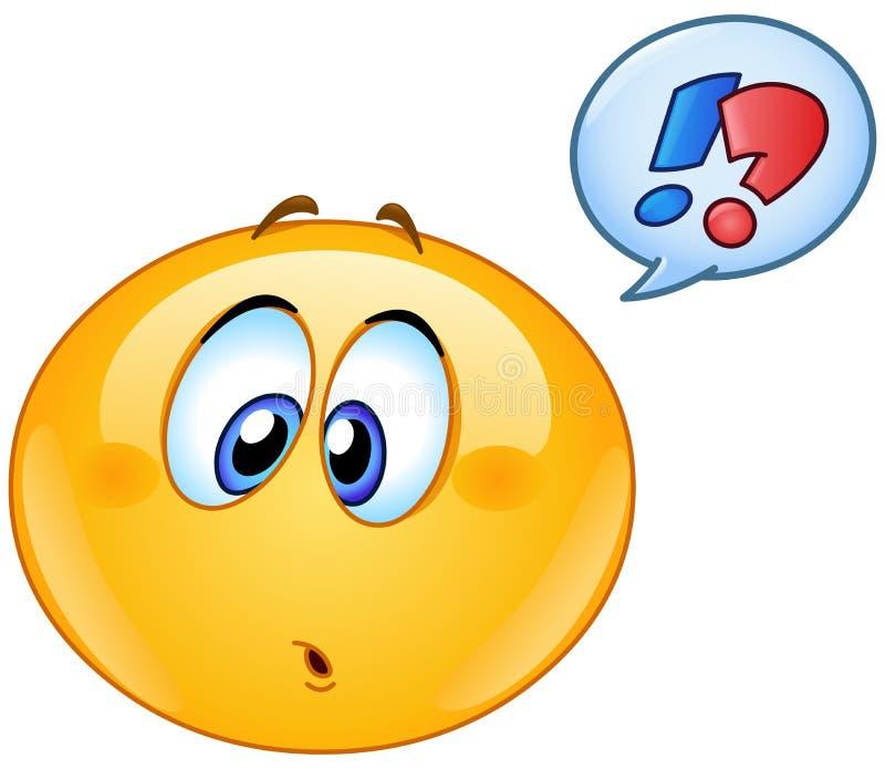 Emoticon confuso con la burbuja del discurso stock de ilustración