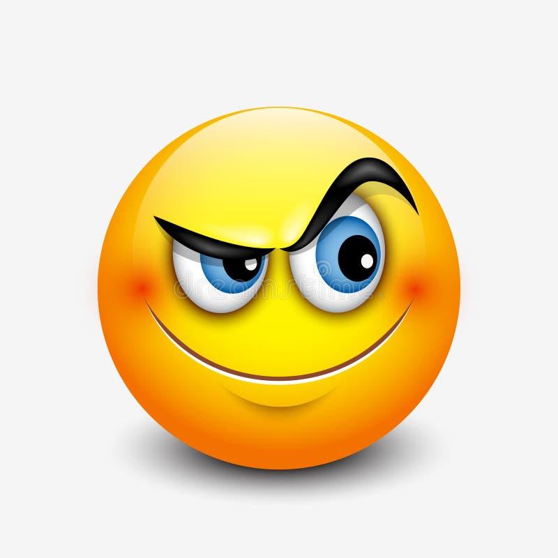 Emoticon curioso lindo, emoji - vector el ejemplo ilustración del vector