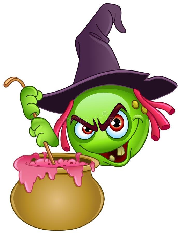 Emoticon da bruxa com caldeirão ilustração royalty free