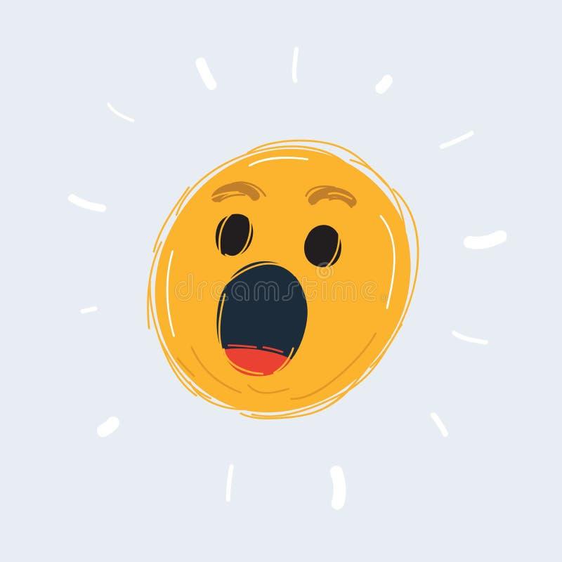 Emoticon da cara da maravilha ilustração do vetor