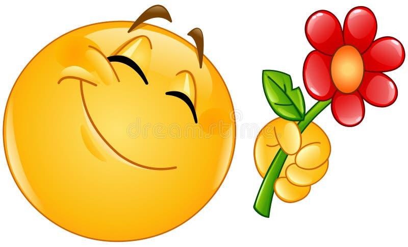 Emoticon daje kwiatu royalty ilustracja