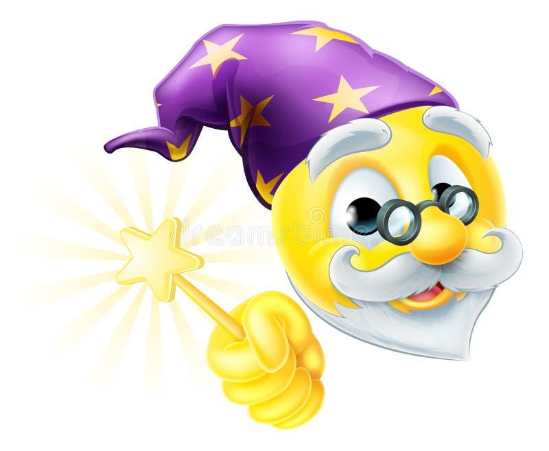 Emoticon de Emoji del mago stock de ilustración