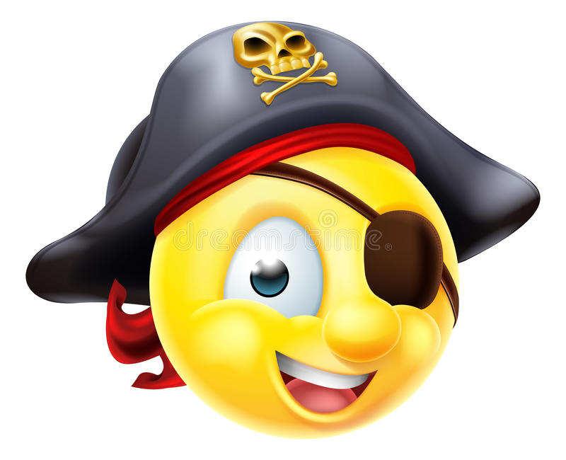 Emoticon de Emoji do pirata ilustração stock