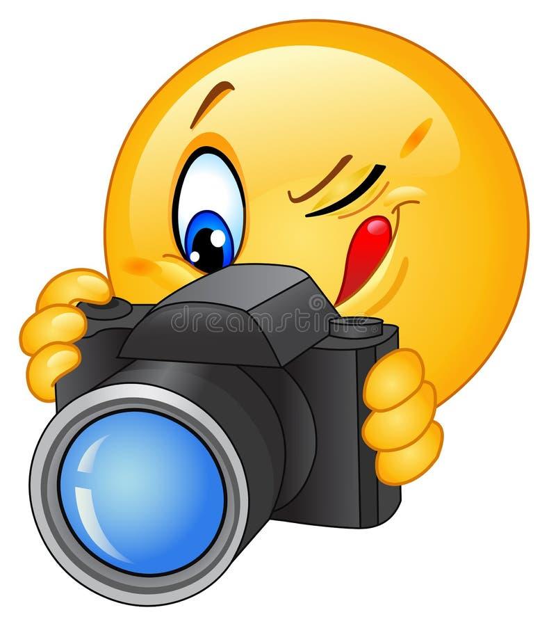 Emoticon de la cámara stock de ilustración