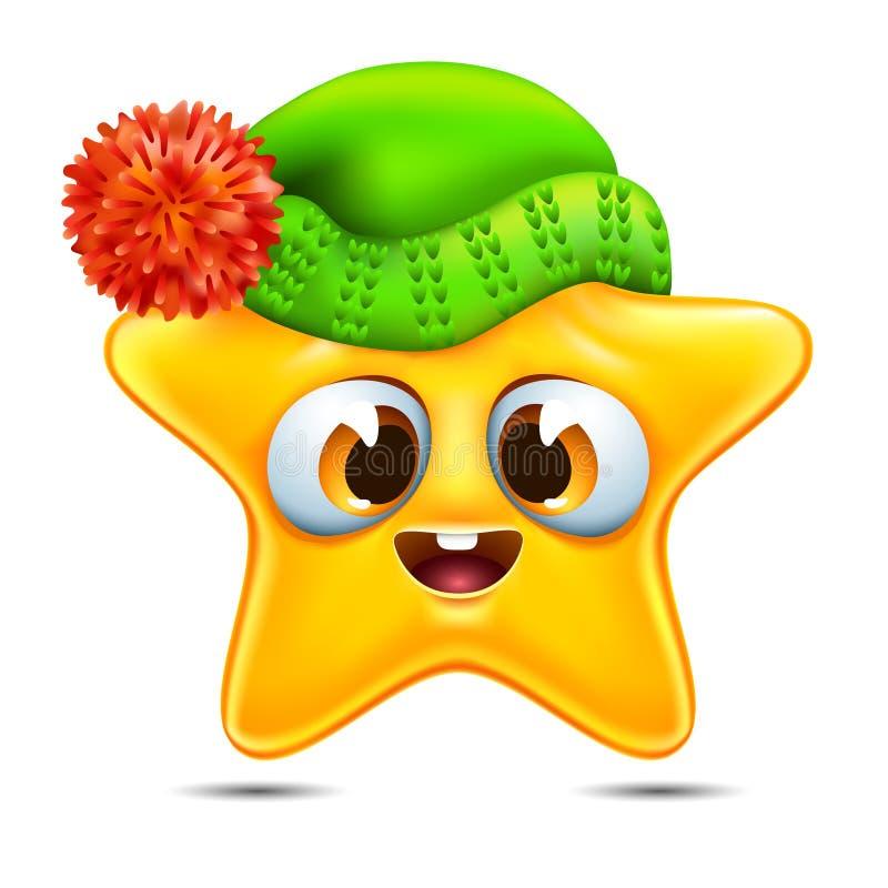 Emoticon de la estrella en un sombrero del invierno libre illustration
