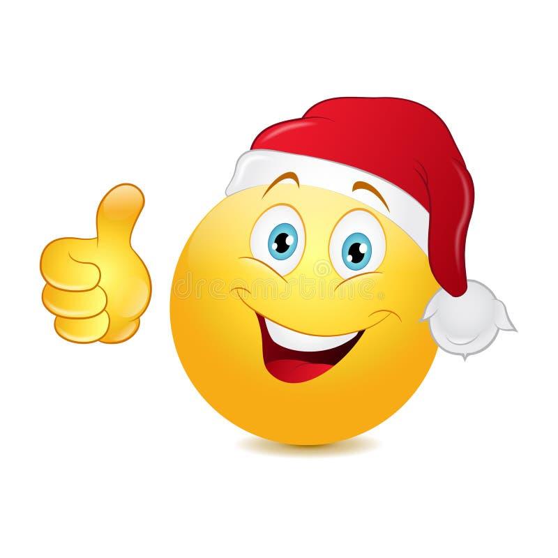 Emoticon de la Navidad con el pulgar para arriba libre illustration
