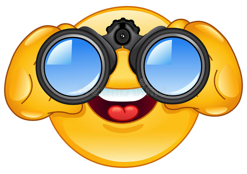 Emoticon de los prismáticos stock de ilustración